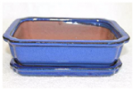 Bonsai Pot, Rectangle, 21cm, Blue, Glazed, Saucer